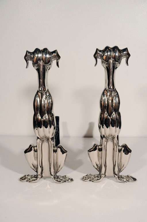 Pair of polished nickel stylized