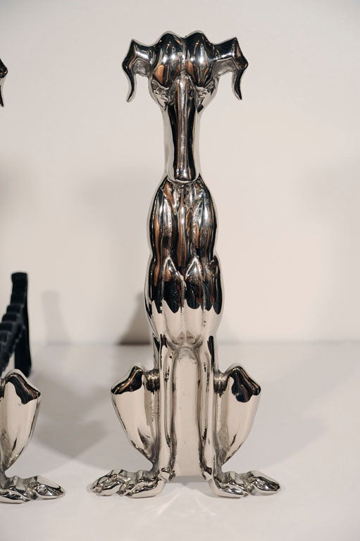 American Art Deco Polished Nickel Whippet Hound Andirons