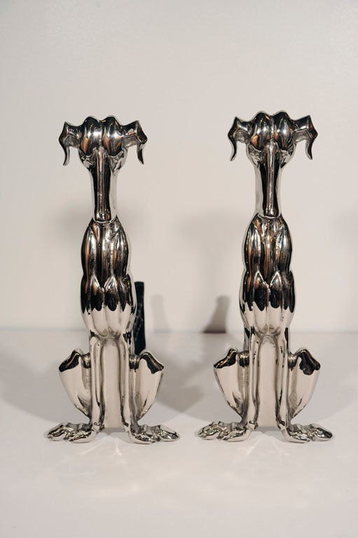 Art Deco Polished Nickel Whippet Hound Andirons 3