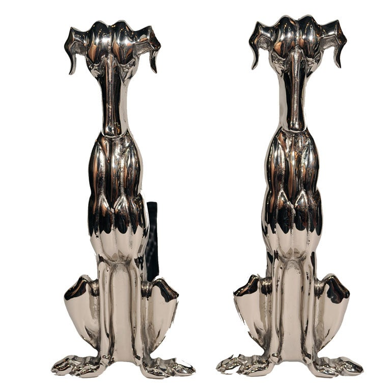Art Deco Polished Nickel Whippet Hound Andirons