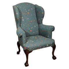 A George III Walnut Wing Armchair