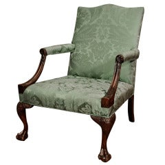 A George II Carved Mahogany Library Armchair