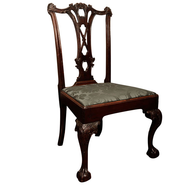 Chippendale Carved Mahogany Side Chair At 1stdibs