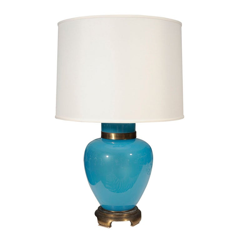 19th century asian turquoise glass table lamp at 1stdibs. Black Bedroom Furniture Sets. Home Design Ideas