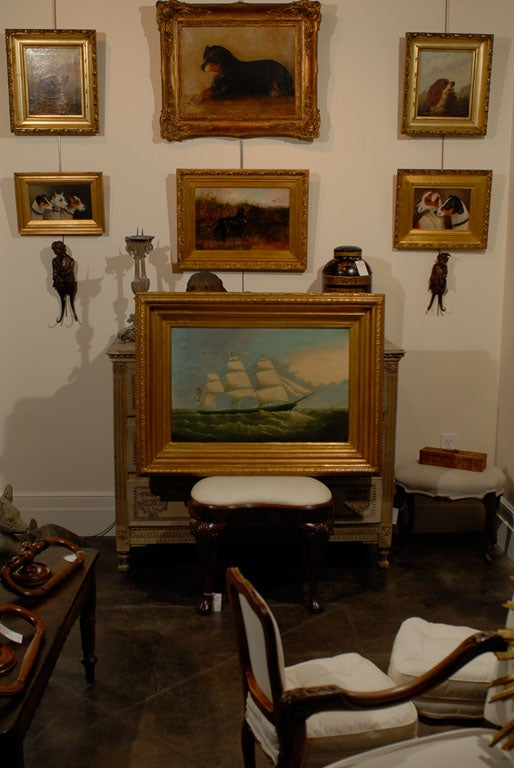 Large Ship oil painting in antique gilt frame. signed  by British artist Joseph Witham ( 1832-1901)