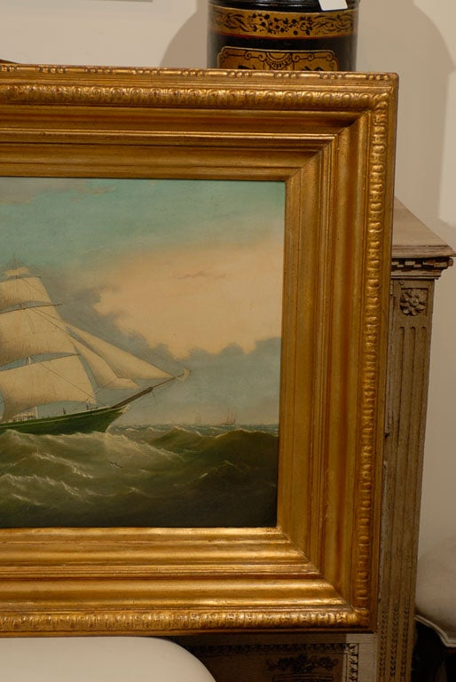 19th Century Large ship Painting For Sale