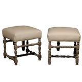 Pair of Painted Upholstered Stools