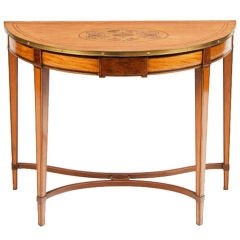 18th Century Satinwood Demilune Console Table