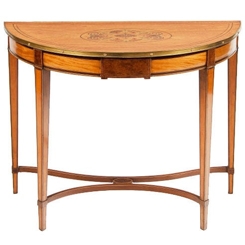 18th Century Satinwood Demilune Console Table For Sale