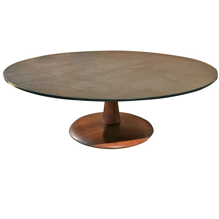 Large scale slate top coffee table w walnut pedestal base at 1stdibs Slate top coffee tables