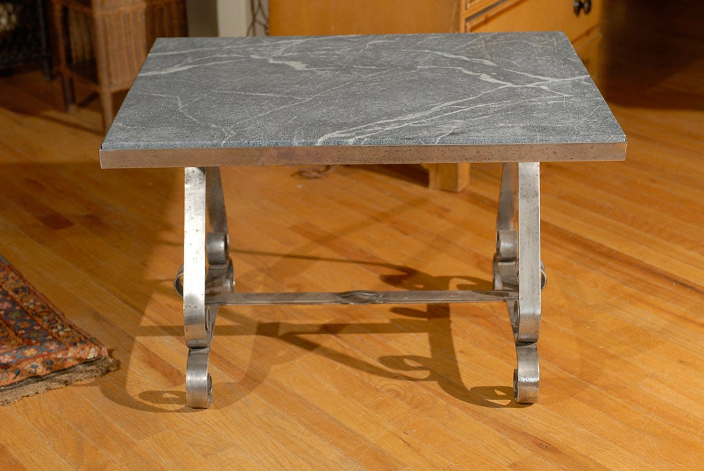 20th C Spanish Steel Coffee Table With New Soapstone At 1stdibs