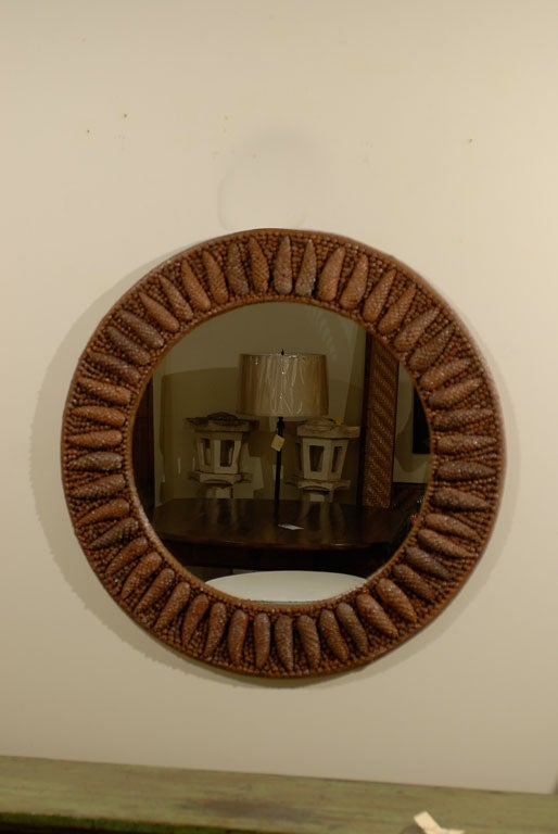 Custom made pine cone round mirror at 1stdibs for Custom made mirrors