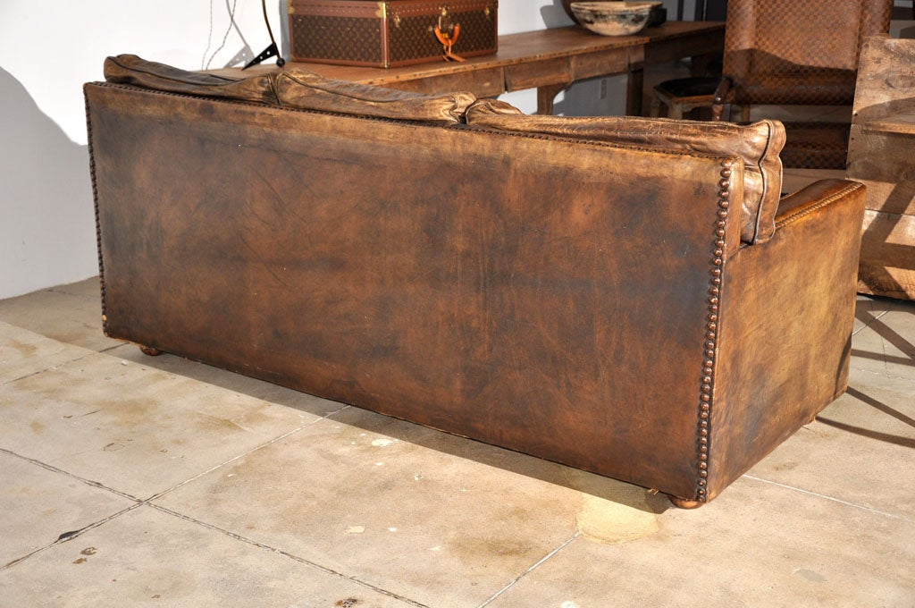 Vintage custom leather sofa ca 1930 at 1stdibs for Unique leather sofas