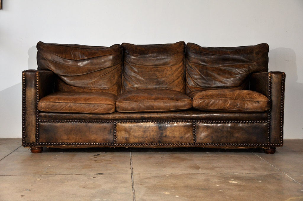 vintage custom leather sofa ca 1930 at 1stdibs