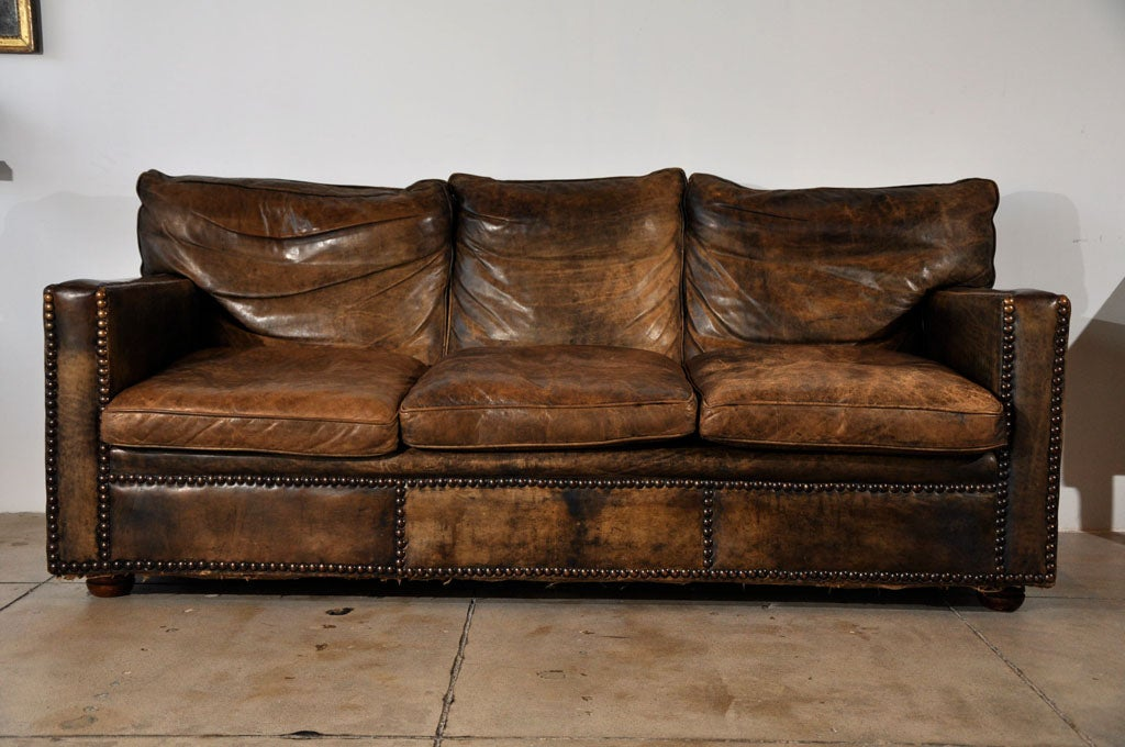 VINTAGE CUSTOM LEATHER SOFA ca 1930 at 1stdibs