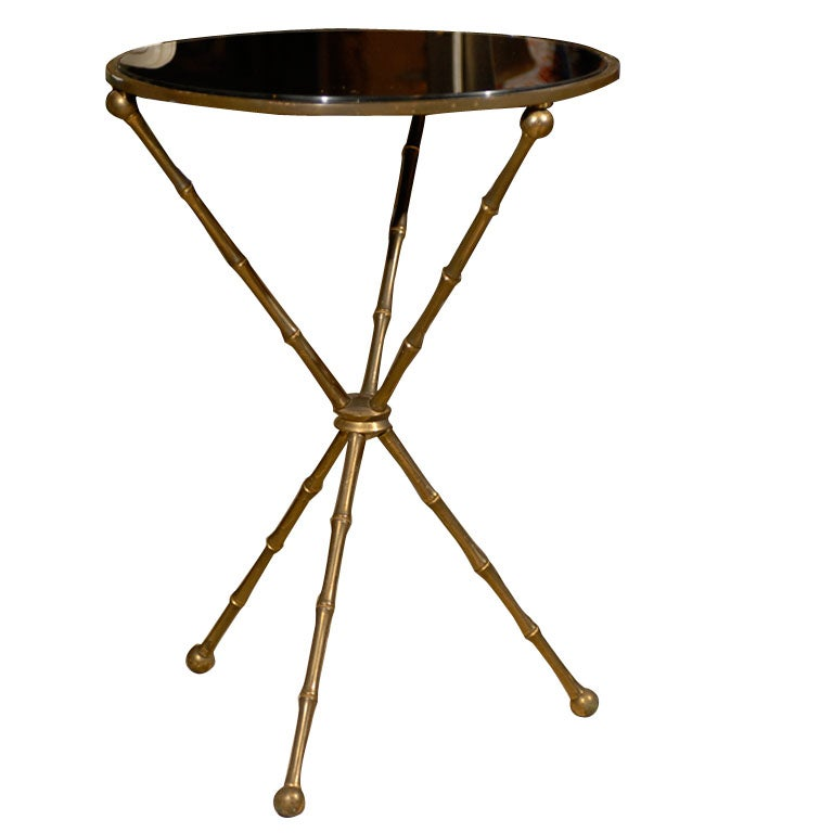 Italian Gold Gilt Iron And Glass Faux Bamboo Metal Square: MID C GILT METAL TRIPOD TABLE, BAMBOO MOTIF At 1stdibs