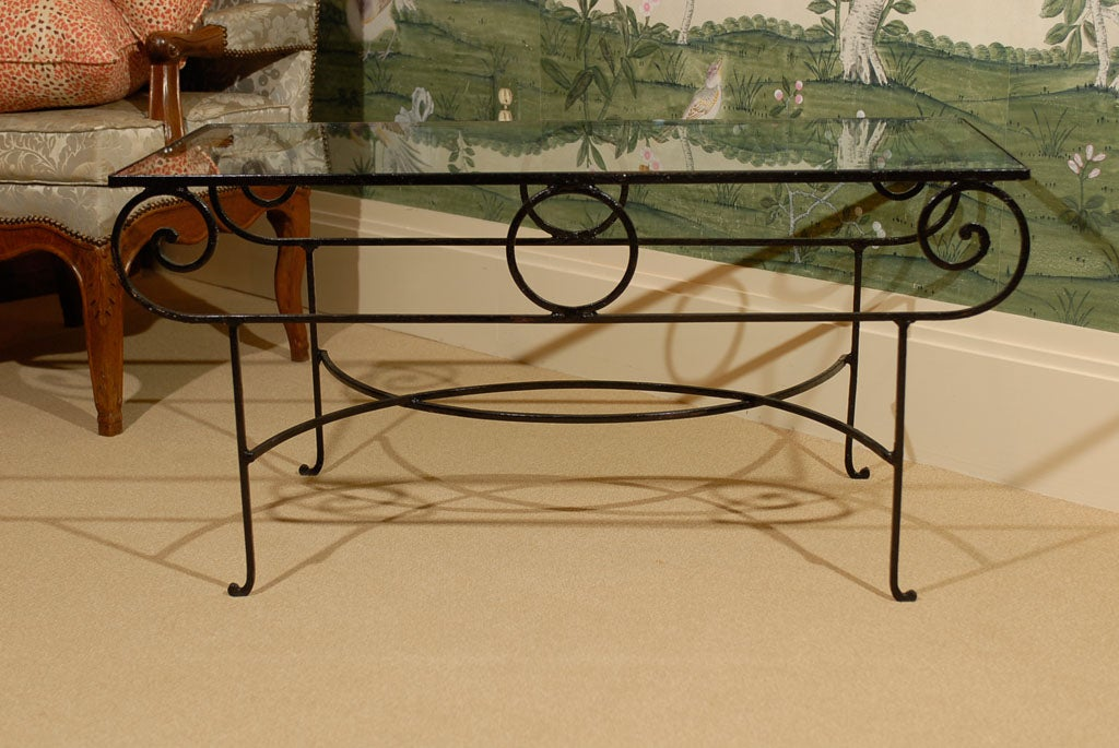 Very Unusual Iron Coffee Table With Glass Top At 1stdibs