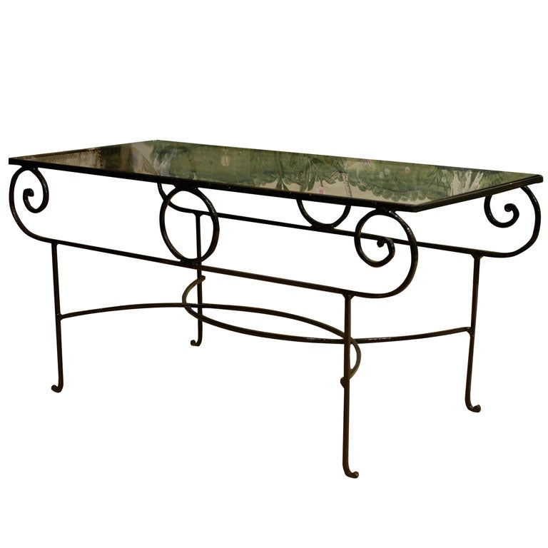 Very unusual iron coffee table with glass top at 1stdibs for Extremely exotic coffee tables
