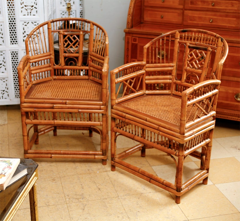 Bamboo Chair With Arms: Vintage Brighton Bamboo Arm Chairs At 1stdibs