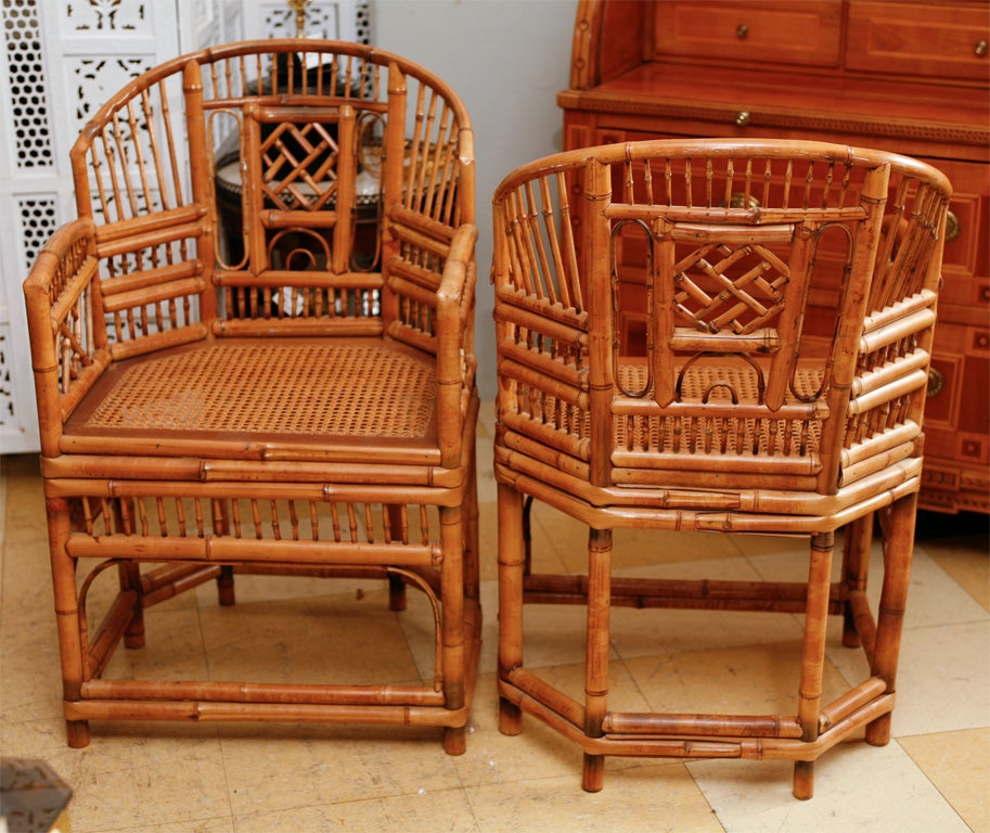 Vintage Brighton Bamboo Arm Chairs At 1stdibs