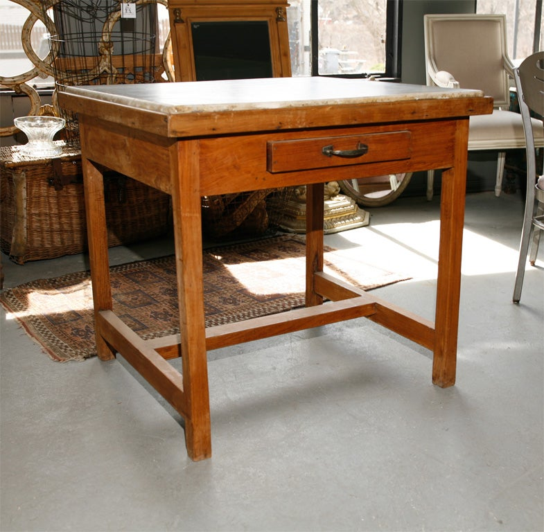 French Marble Top Baker's Work Table At 1stdibs