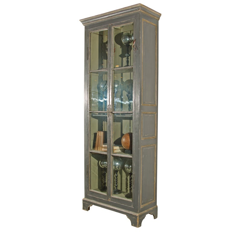 Tall Glass Front Cabinet At 1stdibs