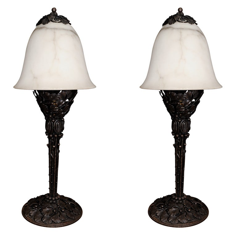 Pair of Edgar Brandt Table Lamps