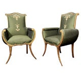 A Most Graceful Pair of Hollywood Regency Armchairs
