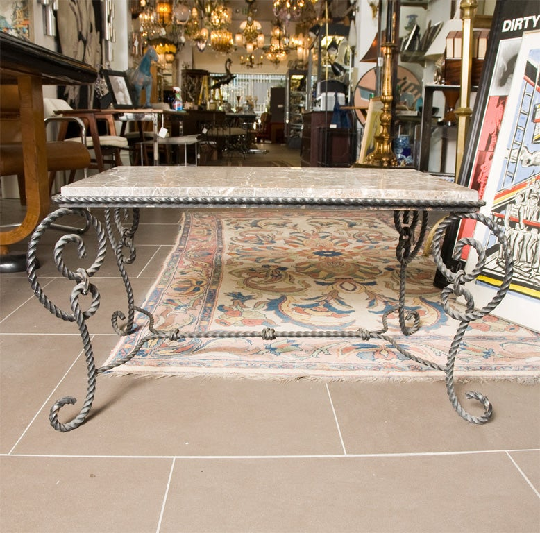 ornate 1940's wrought iron and marble coffee table for sale at 1stdibs