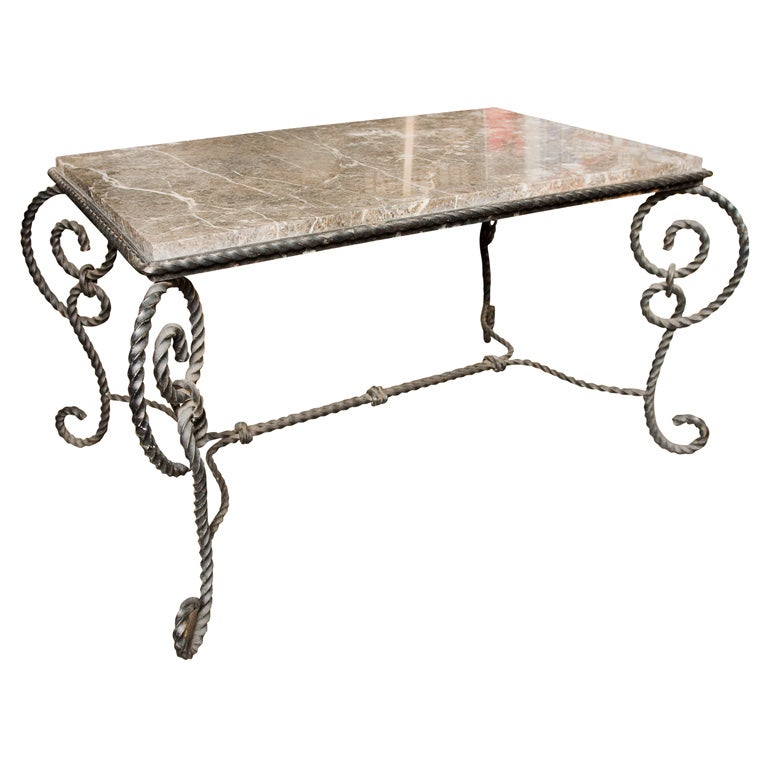 Ornate 1940 39 S Wrought Iron And Marble Coffee Table For Sale At 1stdibs