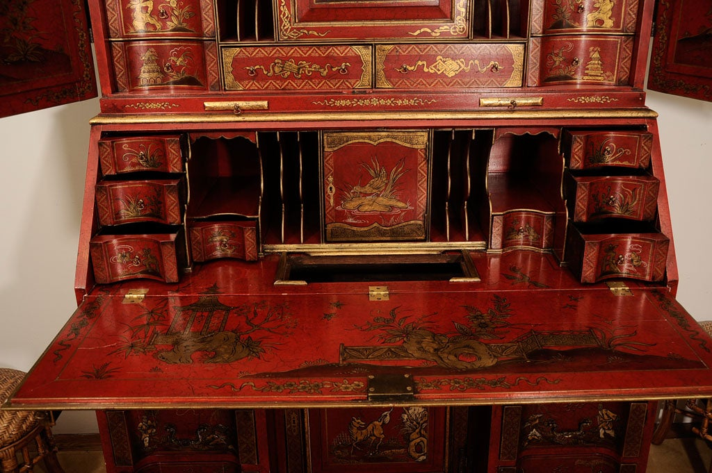 Wood Early 20th Century English Chinoiserie Secretaire For Sale
