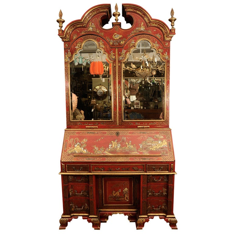 Early 20th Century English Chinoiserie Secretaire For Sale