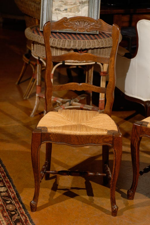 Set Of 4 French Rush Bottom Chairs At 1stdibs