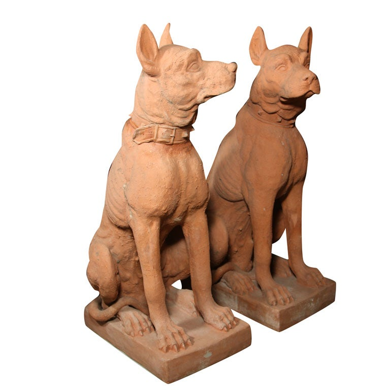 Pair of Terra Cotta Hounds