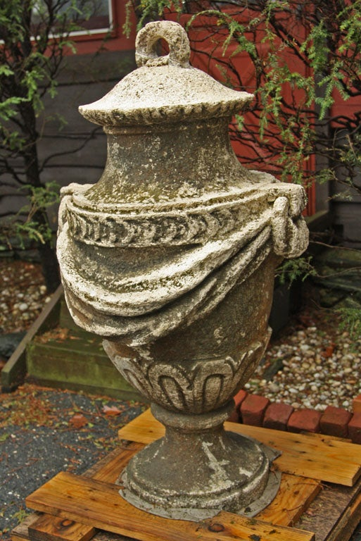 Contemporary An Exceptional Pair of Carved Stone Garden Vases For Sale