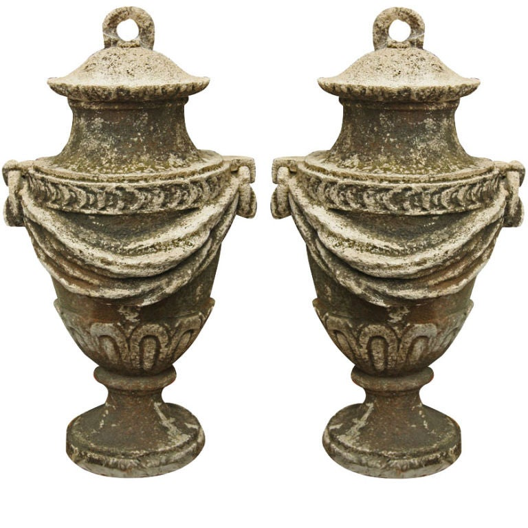 An Exceptional Pair of Carved Stone Garden Vases