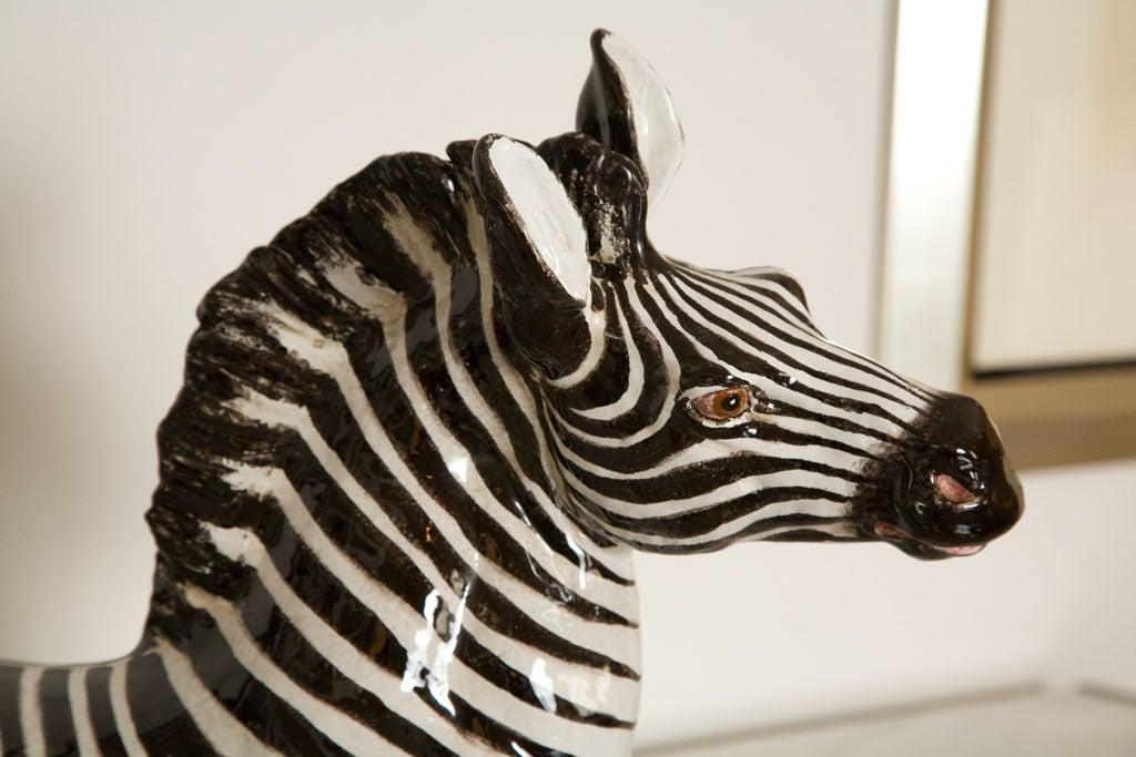 Italian Ceramic Zebra with Painted Finish 3
