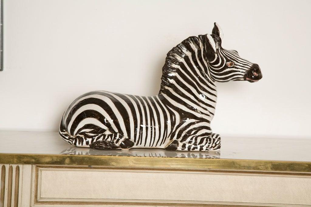 Italian Ceramic Zebra with Painted Finish 5