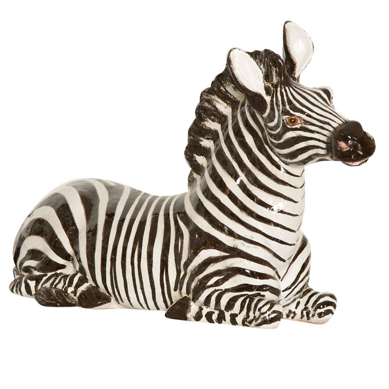 Italian Ceramic Zebra with Painted Finish