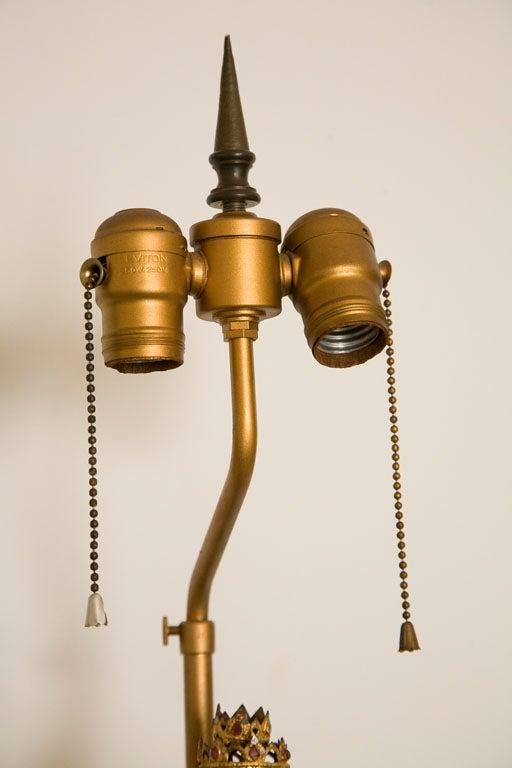 Custom Table Lamp Featuring A Burmese Cast Bronze Buddha