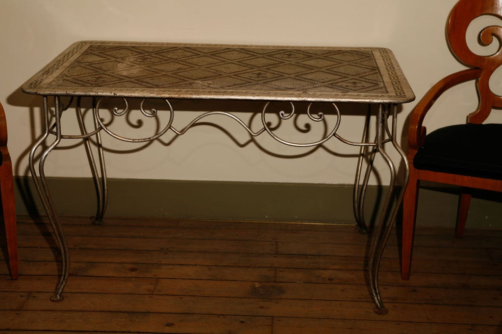 Mid century painted wrought iron and sheet metal table at for Table no border