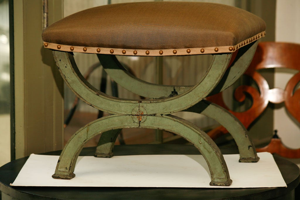 French soft green painted Directoire tabouret with Cocoa colored faille upholstery.