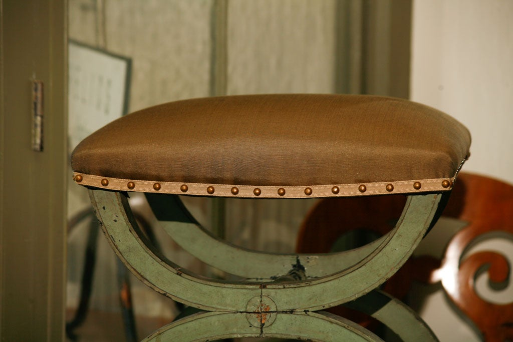 French Directoire Green Painted Tabouret For Sale 1