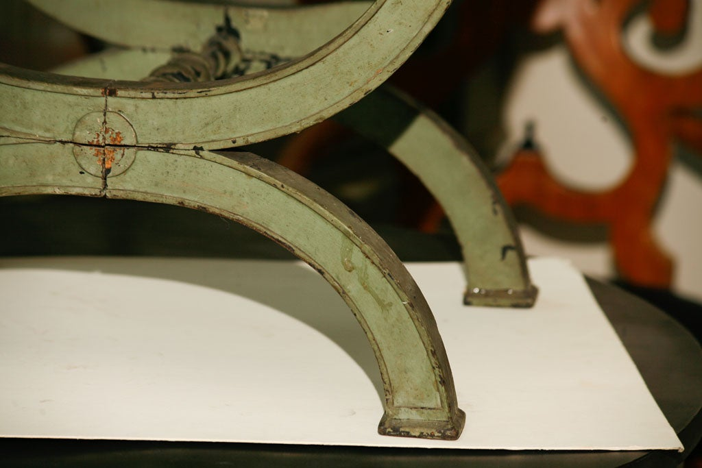French Directoire Green Painted Tabouret For Sale 2