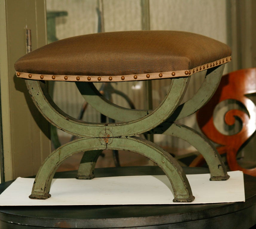 French Directoire Green Painted Tabouret For Sale 6