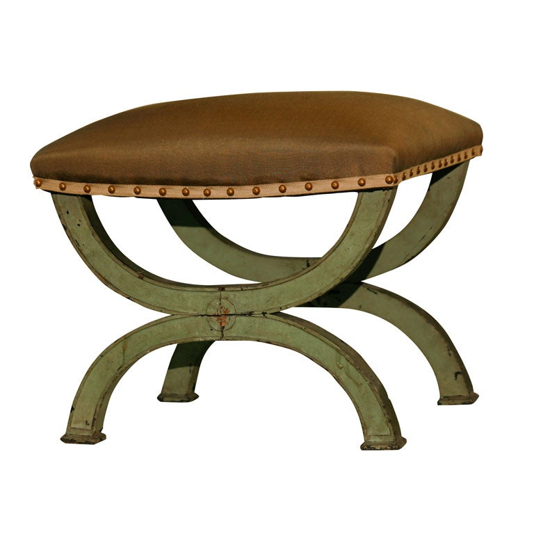 French Directoire Green Painted Tabouret For Sale