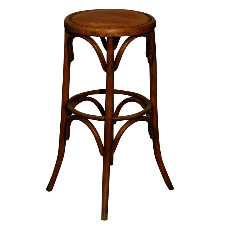 Continental Bentwood Bar Stool With Leather Seat At 1stdibs
