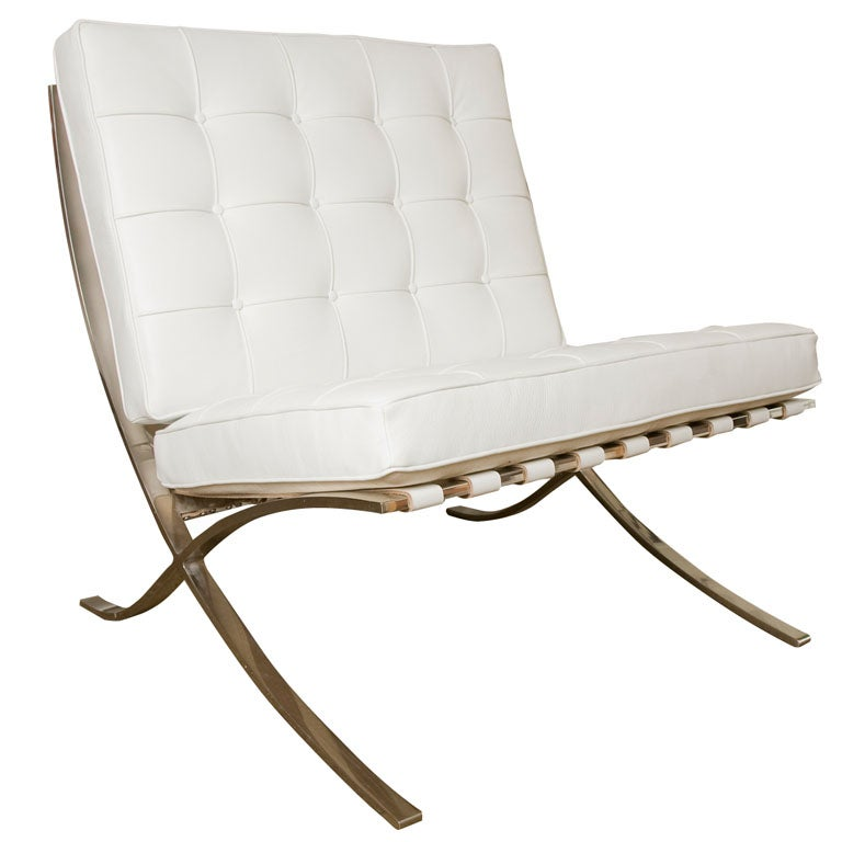 Barcelona Chair White barcelona chairmies van der rohe for knoll in white leather at