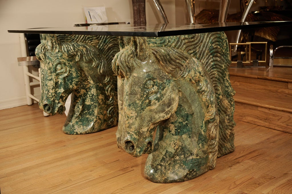 Pair Of Composition Horse Head Form Table Bases With Glass