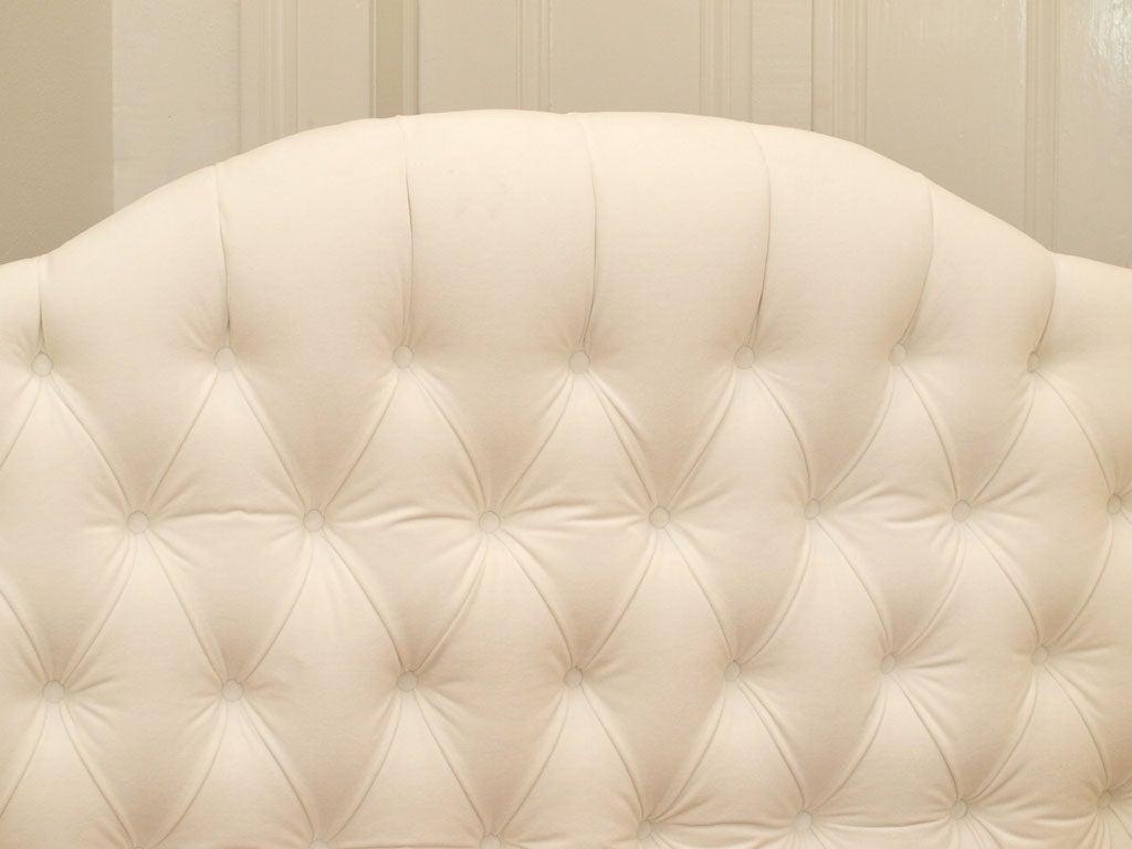 American Tufted White Velvet Queen Headboard